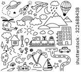 hand drawn kids doodle set | Shutterstock .eps vector #322688438