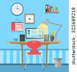 workspace flat design | Shutterstock .eps vector #322689218