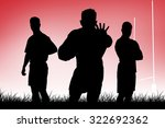 tough rugby players against red ... | Shutterstock . vector #322692362