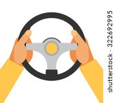 hands holding steering wheel ... | Shutterstock .eps vector #322692995
