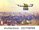 delivery 3d drone and town... | Shutterstock . vector #322708988