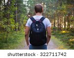 rear view of man with backpack... | Shutterstock . vector #322711742