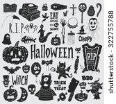 halloween doodles icons set.... | Shutterstock .eps vector #322755788
