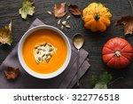 traditional pumpkin soup on a... | Shutterstock . vector #322776518