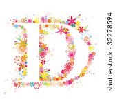 floral letter d | Shutterstock .eps vector #32278594
