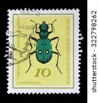 Small photo of GERMAN DEMOCRATIC REPUBLIC - CIRCA 1968: A stamp printed in Germany from the Useful Beetles issue shows Green Tiger beetle (Cicindela campestris), circa 1968.