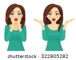 surprised beautiful woman | Shutterstock .eps vector #322805282