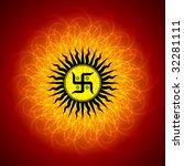 Spiritual Swastika On Mandala...