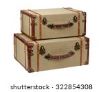 two deco wood burlap suitcases. ... | Shutterstock . vector #322854308