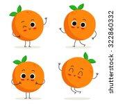 Orange. Cute Fruit Vector...