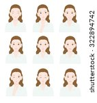 various expressions of women | Shutterstock .eps vector #322894742