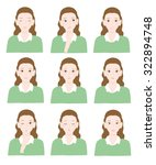 various expressions of women | Shutterstock .eps vector #322894748