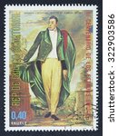 Small photo of EQUATORIAL GUINEA - CIRCA 1976: A stamp printed in GUINEA issued for the bicentenary of American Revolution shows the portrait of General Marquis de Lafayette by Samuel Morse, circa 1976.
