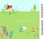 cute little bird couple with a...   Shutterstock .eps vector #322918376