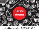 vector vintage chalkboard sushi ... | Shutterstock .eps vector #322948532