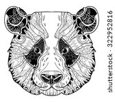 panda zentangle head doodle on... | Shutterstock .eps vector #322952816