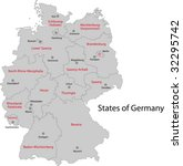 Gray Germany Map With Regions...