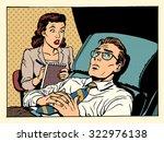 psychologist female patient...   Shutterstock .eps vector #322976138