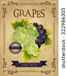 vintage fresh grapes poster....   Shutterstock .eps vector #322986305