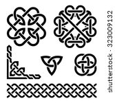 celtic irish knots  braids and... | Shutterstock .eps vector #323009132