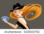 the girl with red hair plays... | Shutterstock .eps vector #323010752