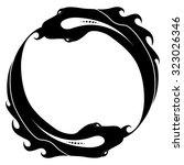 ouroboros tattoo design. fish.... | Shutterstock .eps vector #323026346