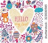 floral heart frame. heart made...   Shutterstock .eps vector #323030585