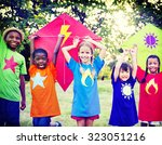 children playing kite happiness ... | Shutterstock . vector #323051216