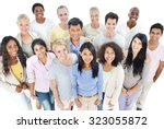large group people healthy... | Shutterstock . vector #323055872