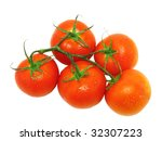 Lush tomato with  green branch. Top view. Isolated - stock photo