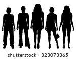 vector women silhouette on a... | Shutterstock .eps vector #323073365