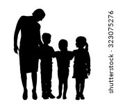 vector family silhouette on a... | Shutterstock .eps vector #323075276