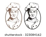 drawn figure chef cooks on... | Shutterstock .eps vector #323084162