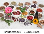 natural herb and flower... | Shutterstock . vector #323086526