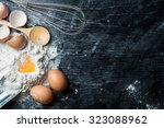 flour with egg and ingredients... | Shutterstock . vector #323088962