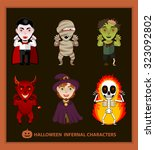 set of 6 infernal characters... | Shutterstock .eps vector #323092802