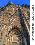 Small photo of Facade of the Gothic Cathedral above the main door, Cologne, Germany