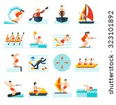 water sports flat icons set... | Shutterstock . vector #323101892