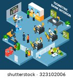 bank interior isometric with 3d ...   Shutterstock . vector #323102006