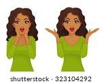 surprised beautiful woman   Shutterstock .eps vector #323104292