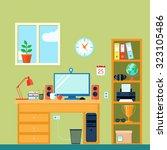 workspace in room with computer ... | Shutterstock . vector #323105486