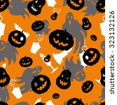 halloween illustration with... | Shutterstock . vector #323132126