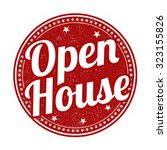 Open House Grunge Rubber Stamp...