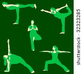 yoga poses set in green | Shutterstock .eps vector #32323285