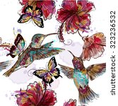 floral seamless wallpaper... | Shutterstock .eps vector #323236532