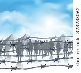 silhouettes of refugees behind... | Shutterstock .eps vector #323238062