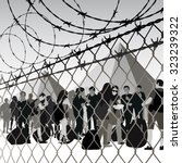 refugees behind chain link... | Shutterstock .eps vector #323239322