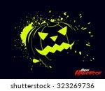black halloween pumpkin vector... | Shutterstock .eps vector #323269736