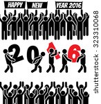2016 icon man happy new year | Shutterstock .eps vector #323310068