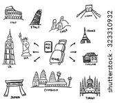 doodle world tourist... | Shutterstock .eps vector #323310932